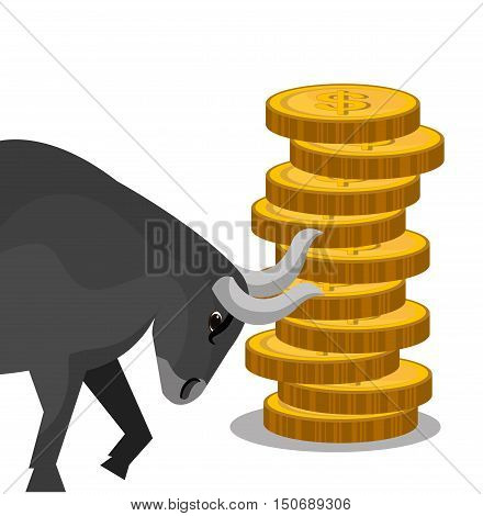 money coins stack and bull. stock exchange finance design. vector illustration