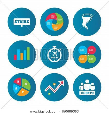Business pie chart. Growth curve. Presentation buttons. Strike icon. Storm bad weather and group of people signs. Delayed flight symbol. Data analysis. Vector