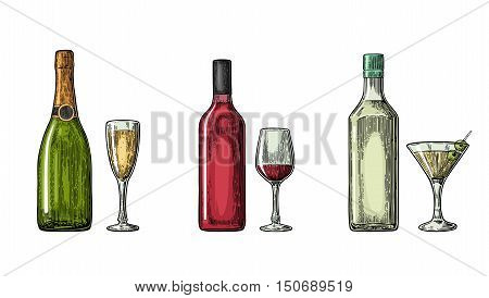 Bottle and glass cocktail liquor wine champagne. Vintage color vector engraving illustration for label poster invitation to party. Isolated on white background