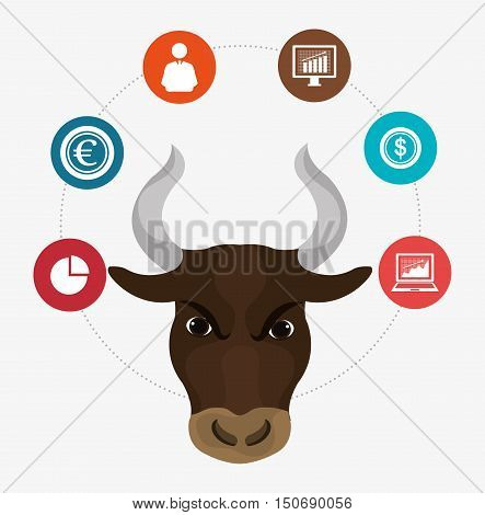 bull face and finance stock exchange icon set. colorful design. vector illustration