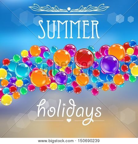 Baloons on the summer background with flares. Colorful baloons, ornate elements, bright sea background for design fliers, adverts, tours, vacations. Vector eps10 illustration.