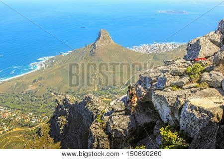 Cape Town, South Africa - January 11, 2014: aerial view of Lion's Head in Cape Town, Western Cape, South Africa. Tourists do trekking in the popular Table Mountain National Park.