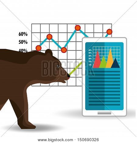 bear and smartphone and finance charts. colorful design. vector illustration