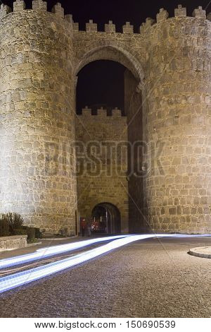 Perfectly preserved medieval walled town the night of the city of Avila in Spain views