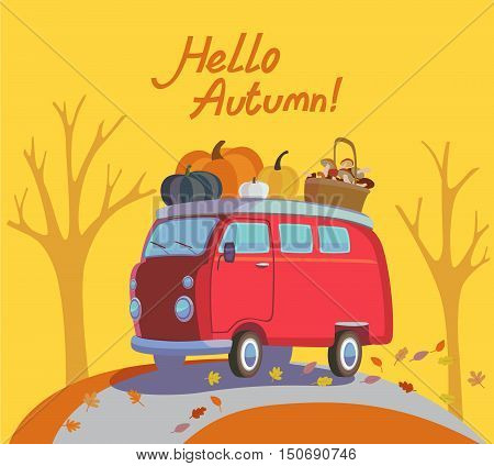 Colorful illustration of seasons theme in vector. Hello autumn concept. Modern vintage colors, flat design. Traditional hippie car minivan with lettering hello autumn. For advetrising, bakery, autumn banners, post-card