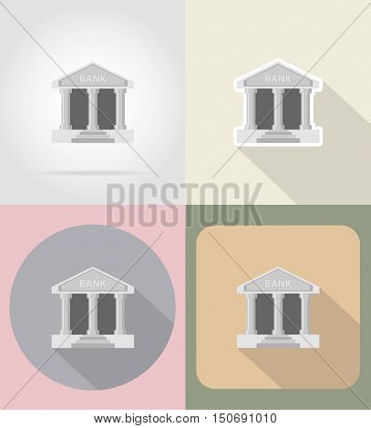 bank flat icons vector illustration isolated on background