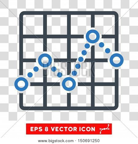 Vector Line Plot EPS vector pictogram. Illustration style is flat iconic bicolor smooth blue symbol on a transparent background.