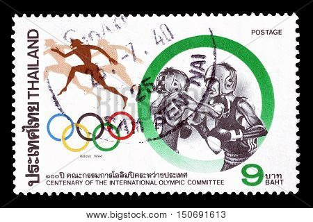 THAILAND - CIRCA 1994 : Cancelled postage stamp printed by Thailand, that shows Boxing.