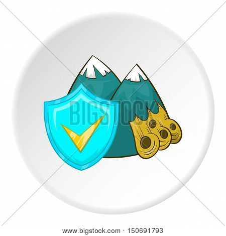 Avalanche in mountains and sign safety icon in cartoon style isolated on white circle background. Accident prevention symbol vector illustration
