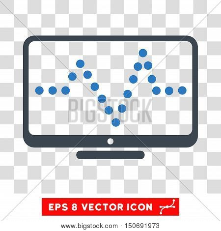 Vector Pulse Chart EPS vector pictograph. Illustration style is flat iconic bicolor smooth blue symbol on a transparent background.
