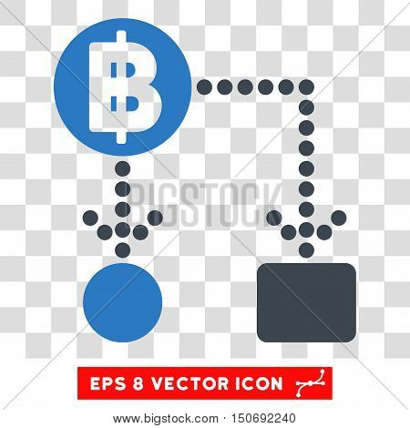 Vector Thai Baht Cashflow EPS vector pictogram. Illustration style is flat iconic bicolor smooth blue symbol on a transparent background.