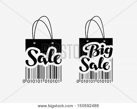 Sale. Shopping bag with bar code. discount icon or symbol. vector illustration