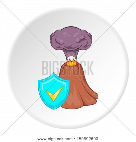 Eruption of volcano and sign safety icon in cartoon style isolated on white circle background. Disaster symbol vector illustration