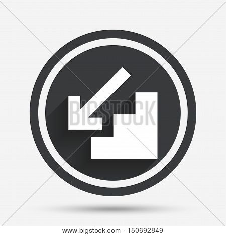 Downstairs icon. Down arrow sign. Circle flat button with shadow and border. Vector