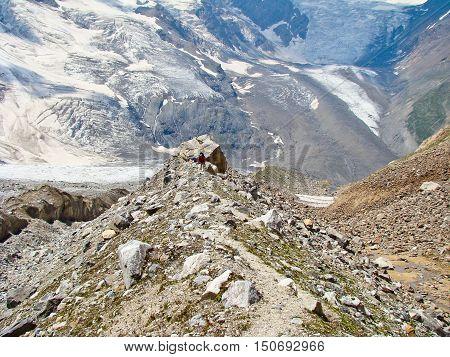 trekking in a Caucasian mountains on summer