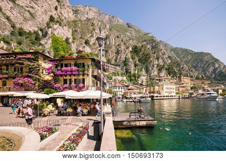 Limone Sul Garda Italy - June 29 2016: Limone sul Garda is a town in Lombardy (northern Italy) on the shore of Lake Garda.