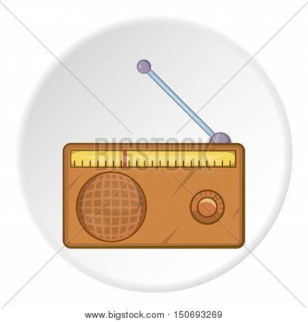 Radio icon in cartoon style isolated on white circle background. Music symbol vector illustration