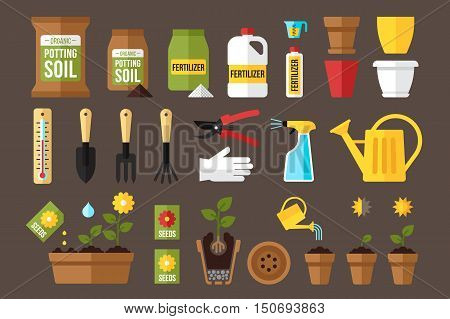 Vector set of indoor gardening icons: gardening tools packages of soil fertilizers seeds flowerpots planting and growing process care instruction symbols. Flat style.