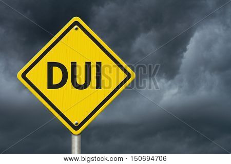 Yellow Warning DUI Checkpoint Highway Road Sign Red Yellow Warning Highway Sign with words DUI Checkpoint with stormy sky background 3D Illustration