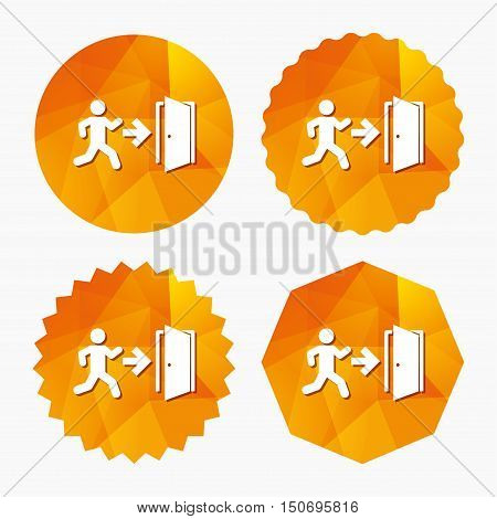 Emergency exit with human figure sign icon. Door with right arrow symbol. Fire exit. Triangular low poly buttons with flat icon. Vector