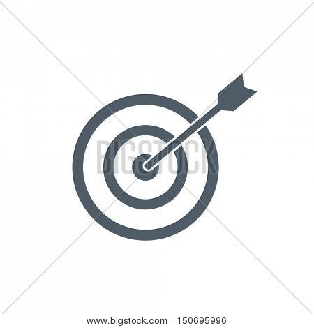 Dart in bullseye isolated on a white background