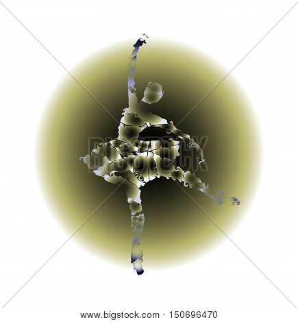 humanoid of dancer silhouette on abstract background