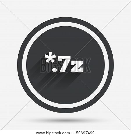 Archive file icon. Download compressed file button. 7z zipped file extension symbol. Circle flat button with shadow and border. Vector