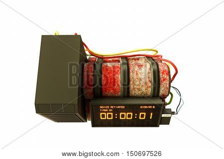 3d illustration of a time bomb isolated on white background