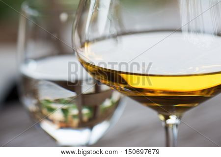 Glass of Chardonnay White Wine Close Up