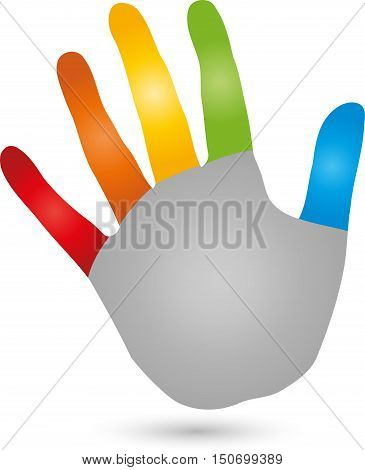 Five, hand colored, physiotherapy or naturopathic logo