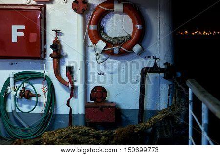 Ferry's pontoon crossing the Bosphorus, Istanbul, Turkey