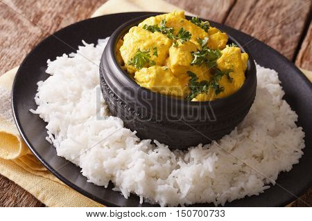 Chicken Korma - Chicken On A Mildly Spiced Creamy Sauce With Rice Close-up. Horizontal
