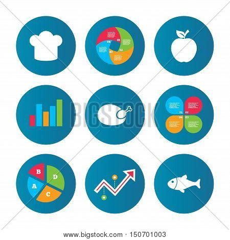 Business pie chart. Growth curve. Presentation buttons. Food icons. Apple fruit with leaf symbol. Chicken hen bird meat sign. Fish and Chef hat icons. Data analysis. Vector