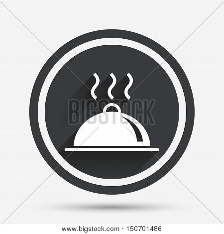 Food platter serving sign icon. Table setting in restaurant symbol. Hot warm meal. Circle flat button with shadow and border. Vector