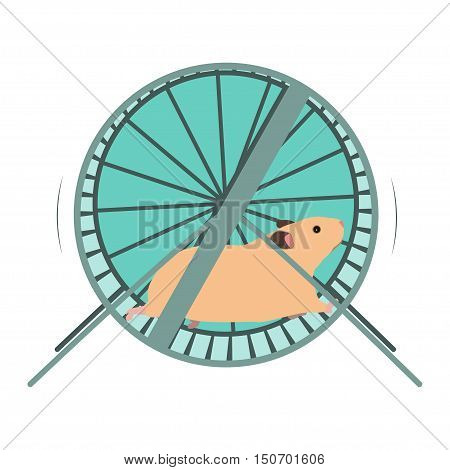 Hamster running in a wheel vector illustration.