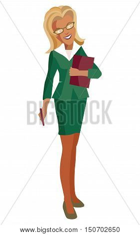 Woman-blonde in a green business suit and glasses. eps10