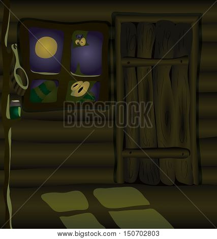 This terrible hut must be owned by a witch. on a wooden shelf is a potion. Moonlight falls through the window. And someone is looking at you.