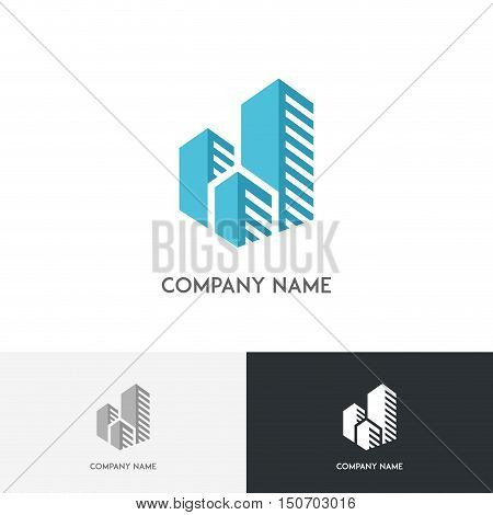 Big city logo - megalopolis with blue skyscrapers on the white background