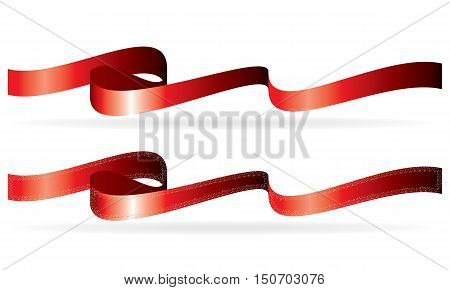 Long width red ribbons curled banners with solid white background and ribbon with strange border