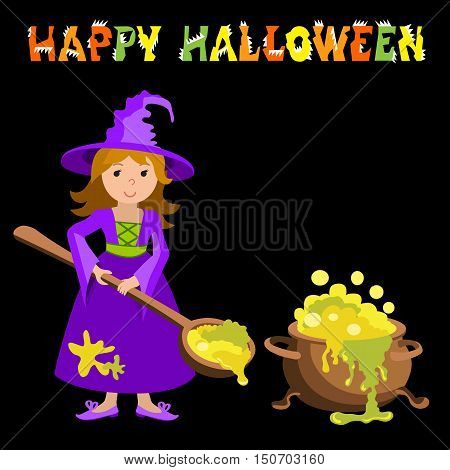 Vector cartoon image of funny witch with big cauldron potion. Halloween. Vector illustration.