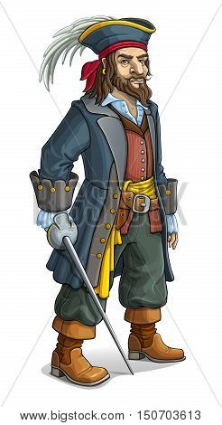 Pirate, character, robber, freebooter, filibuster. Man in hat sword feather.
