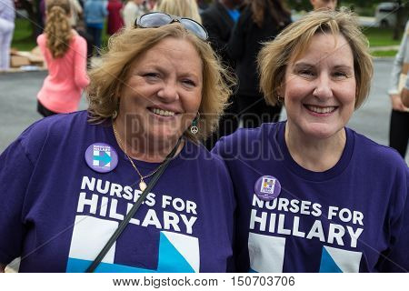 Harrisburg PA USA - October 4 2016: Nurses for Hillary at the rally for Presidential candidate Hillary Clinton.