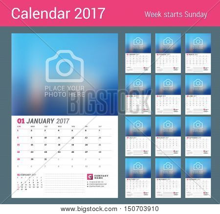 Wall Calendar Planner For 2017 Year. Vector Print Template With Place For Photo. Week Starts Sunday.