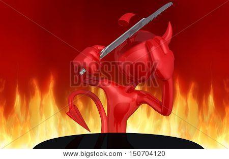 Devil Character Sawing Off Horns 3D Illustration