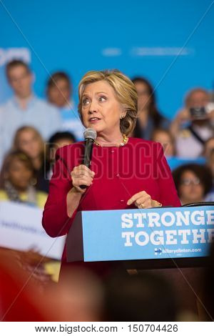Harrisburg PA USA - October 4 2016: Presidential candidate Hillary Clinton speaking to supporters at Zembo Shrine urging them to register to vote.