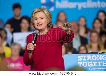 Harrisburg PA - October 4 2016: Presidential candidate Hillary Clinton speaking to supporters aand urging them to register to vote.