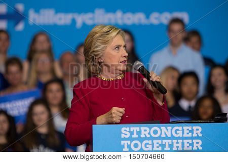 Harrisburg PA - October 4 2016: Presidential candidate Hillary Clinton campaigning in Pennsylvania urging supporters to register to vote.