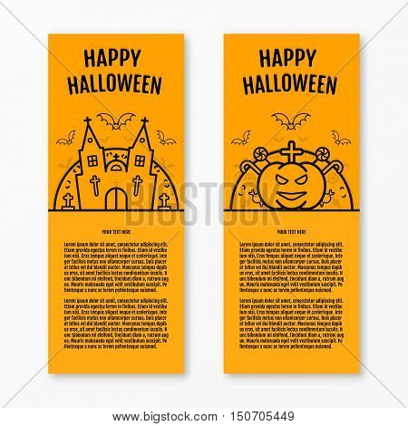 Happy halloween concept orange vertical banners set with bats moon pumkin coffin graves castle church. Halloween vector design for web page graphics. Party Invitation. Place for your text. Halloween menu design.