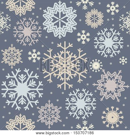 Christmas seamless pattern with variegated colorful snowflakes. Stylish background for your creative designs.