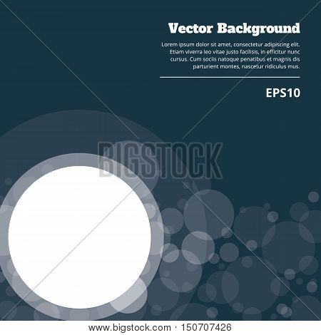Transparent crossing circles abstract background. White bubbles randomly placed on dark blue backdrop and frame with room for your text or symbols. Easy editable vector eps10 illustration.